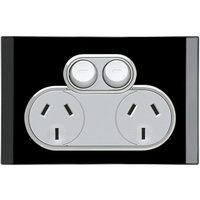 Clipsal Saturn Double Powerpoint (Espresso Black)