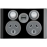 Clipsal Saturn Double Powerpoint + USB Charger (Espresso Black)