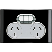 Clipsal Saturn Double Powerpoint + Extra Switch (Espresso Black)