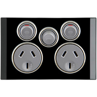 Clipsal Saturn Double Powerpoint with Removable Extra Switch (Espresso Black)