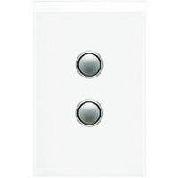 Clipsal Saturn 2 Gang Switch with LED (Pure White)