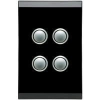 Clipsal Saturn 4 Gang Switch with LED (Espresso Black)