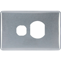 Clipsal Classic Single Powerpoint Brushed Aluminium Silver Cover
