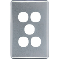 Clipsal Classic 5 Gang Brushed Aluminium Silver Cover