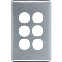 Clipsal Classic 6 Gang Brushed Aluminium Silver Cover