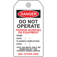 Danger Tag - Person Working on Equipment (5 Pack)