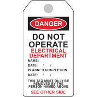 Danger Tag - Electrical Department (5 Pack)