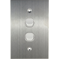 Connected Switchgear Stainless Steel 2 Gang Light Switch