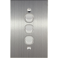 Connected Switchgear Stainless Steel 3 Gang Light Switch