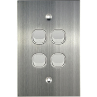 Connected Switchgear Stainless Steel 4 Gang Light Switch