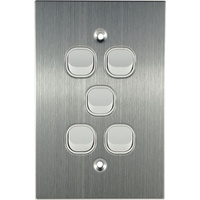 Connected Switchgear Stainless Steel 5 Gang Light Switch