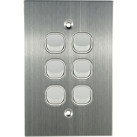 Connected Switchgear Stainless Steel 6 Gang Light Switch