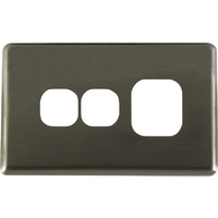 Single Powerpoint + Extra Switch Aluminium Brushed Silver Metal Cover