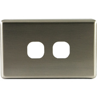 Two Gang Aluminium Brushed Silver Metal Cover