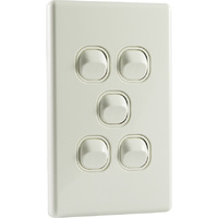 QCE Slimline 5 Gang Light Switch