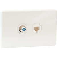 QCE Slimline TV Outlet F Type + Data RJ45 Outlet