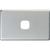 HPM Excel 1 Gang Light Switch Matt Silver Metal Cover
