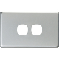 HPM Excel 2 Gang Light Switch Matt Silver Metal Cover