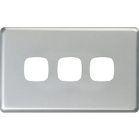 HPM Excel 3 Gang Light Switch Matt Silver Metal Cover