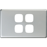 HPM Excel 4 Gang Light Switch Matt Silver Metal Cover