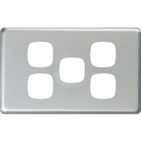 HPM Excel 5 Gang Light Switch Matt Silver Metal Cover