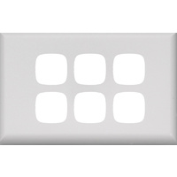 HPM Excel 6 Gang Light Switch White Cover