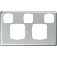HPM Excel Double Powerpoint + Extra Switch Matt Silver Metal Cover