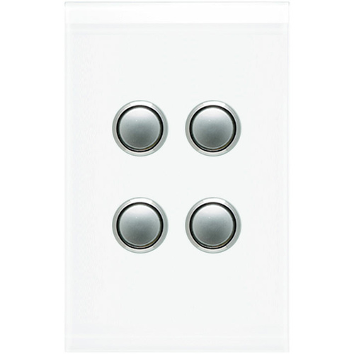 Clipsal Saturn 4 Gang Switch with LED (Pure White)