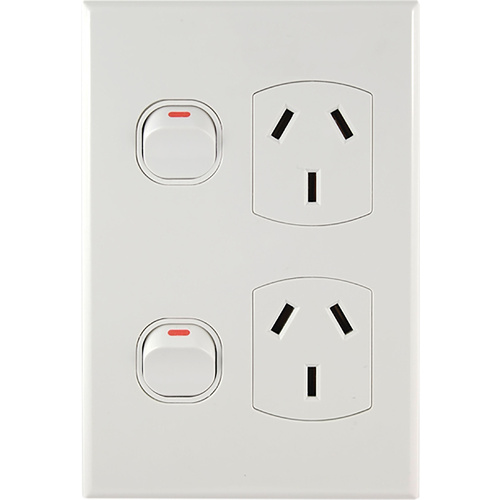Connected Switchgear GEO Vertical Double Powerpoint [ White ]