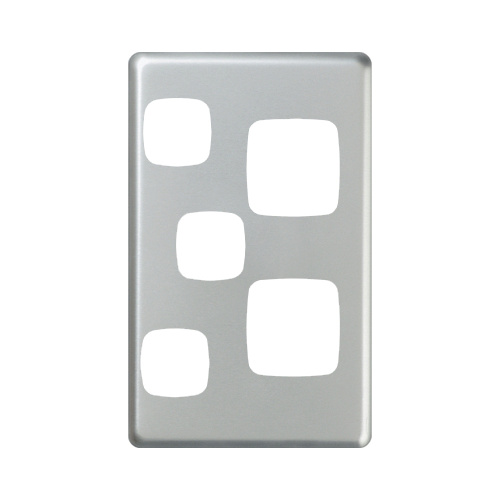 HPM Excel Vertical Double Powerpoint + Extra Switch Matt Silver Metal Cover