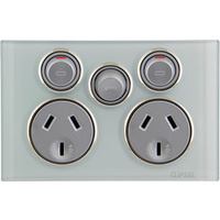 Clipsal Saturn Double Powerpoint with Removable Extra Switch (Ocean Mist)