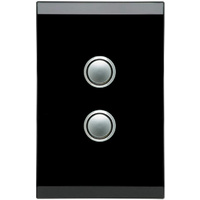 Clipsal Saturn 2 Gang Switch with LED Espresso Black