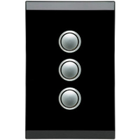Clipsal Saturn 3 Gang Switch with LED Espresso Black