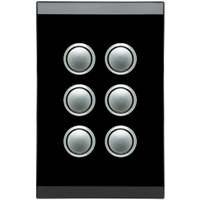 Clipsal Saturn 6 Gang Switch with LED Espresso Black