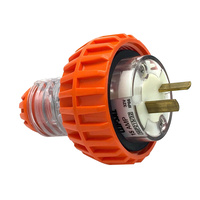 Clipsal 56 Series Flat 2 Pin 15A Straight Plug Electric Orange