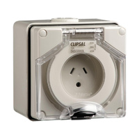 Clipsal 56 Series 2 Flat 1 Round Earth Pin 10A Wall Socket Grey