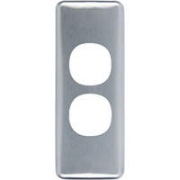 Clipsal Classic 2 Gang Architrave Brushed Aluminium Cover