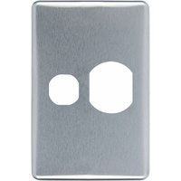 Clipsal Classic Vertical Single Powerpoint Brushed Aluminium Silver Cover