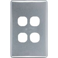 Clipsal Classic 4 Gang Brushed Aluminium Silver Cover