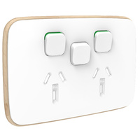 Clipsal Iconic Essence Double Powerpoint + Extra Switch Skin Arctic White