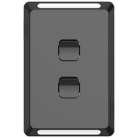Clipsal Pro 2 Gang Switch Skin Black