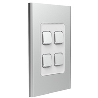 Clipsal Iconic Styl 4 Gang Switch Skin Silver