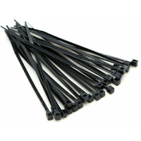 250mm Black Cable Ties (100 Pack)