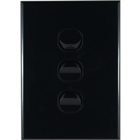 Connected Switchgear GEO 3 Gang Light Switch Black