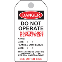 Danger Tag - Maintenance Department (5 Pack)