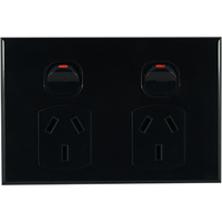Connected Switchgear GEO Double Powerpoint Black