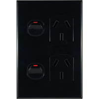 Connected Switchgear GEO Vertical Double Powerpoint Black