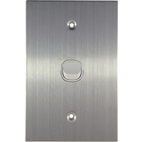 Connected Switchgear Stainless Steel 1 Gang Light Switch White