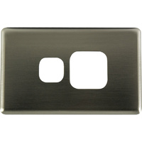Single Powerpoint Aluminium Brushed Silver Metal Cover