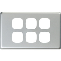 HPM Excel 6 Gang Light Switch Matt Silver Metal Cover
